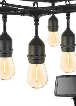 Outdoor Solar String Lights 34 Ft Vintage S14 Hanging Patio Lights