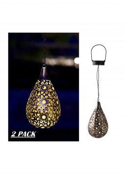 2 Pack Hanging Solar Lantern Lights Outdoor Decorative
