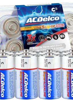 ACDelco 8-Count C Batteries, Maximum Power Super Alkaline Battery