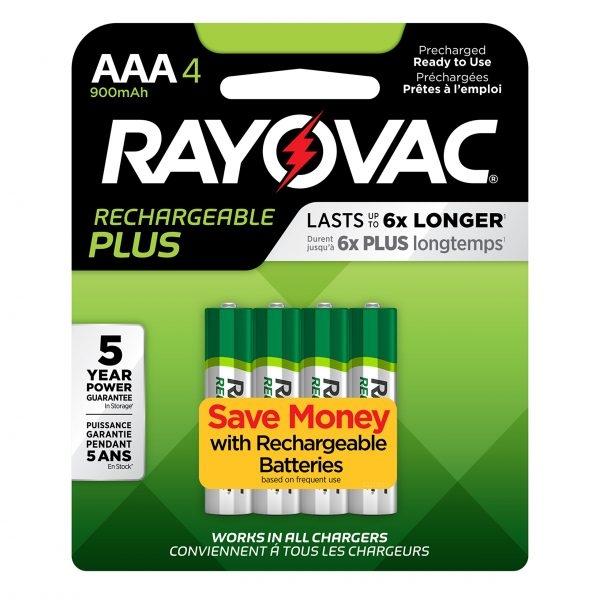 Rayovac Rechargeable AAA Batteries, High Capacity