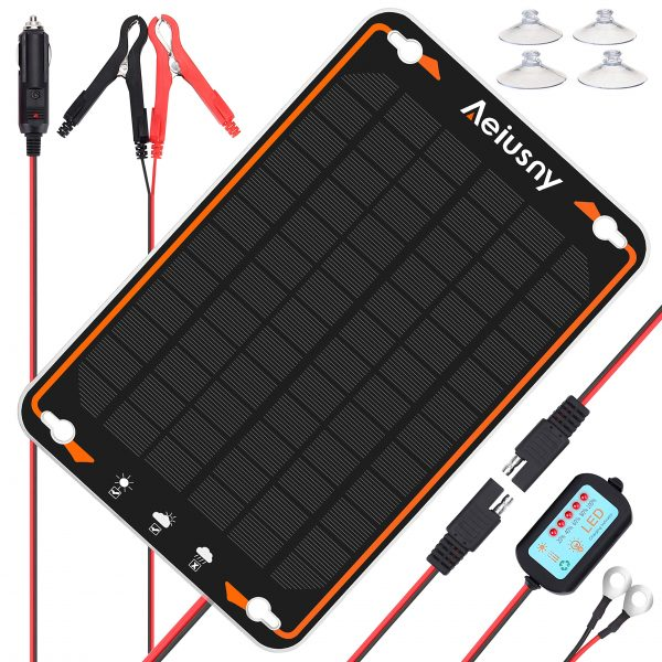 Aeiusny 12V Solar Car Battery Trickle Charger&Maintainer