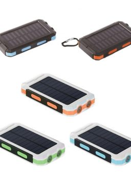 Solar Power Bank Portable Charger Dual LED Flashlight and Compass