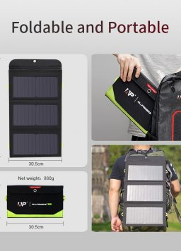 Portable Solar Charger 5V 21W Built-in 10000mAh Battery
